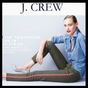 J.Crew Toothpick Tuxedo Stripe Ankle Jean